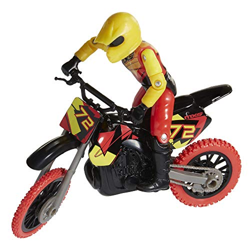 MXS Motocross Bike Toys Moto Extreme Sports, Bike & Rider with SFX Sounds by Jakks Pacific Action Figure Playsets – #72 Red & Yellow Rider, for Kids Ages 5+