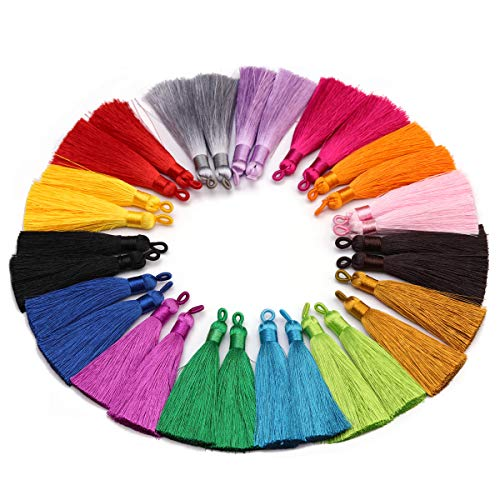 (Forise 30pcs Tassels Mix 15 Different Color Fashion Silky Elegant Tassels Fit for DIY Jewelry Making Accessories,80mm)