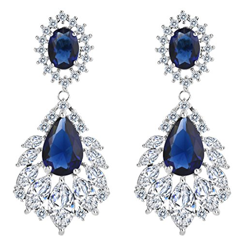 BriLove Women's Wedding Bridal Cubic Zirconia 1920s Peacock Feather Shaped Chandelier Dangle Earrings Sapphire Color Silver-Tone