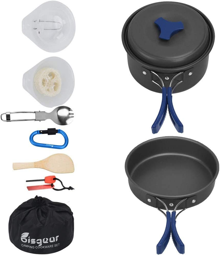 Bisgear 12PCs Camping Cookware Mess Kit Aluminum Lightweight Folding Camping Pots and Pans Set Backpacking/Cookset/Bug Out Bag Cooking Equipment
