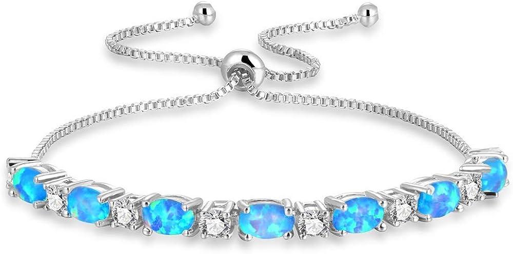 Opal slider bracelet Adjustable One size fits all. Sterling Silver