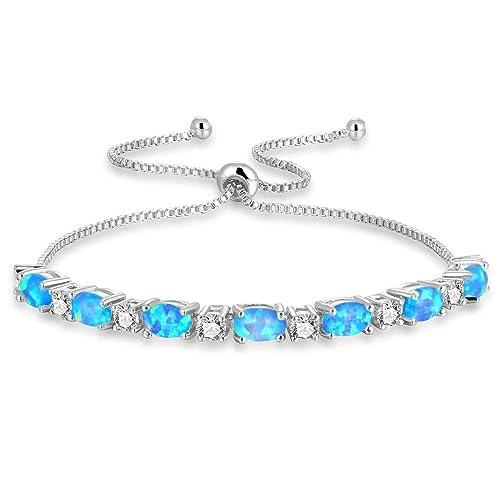 2b418ad89f175 CiNily 18K White Gold/Rose Gold Plated Bracelets-Ajustable Sparkling Cubic  Zirconia White Opal Bracelet for Women Girls for Her