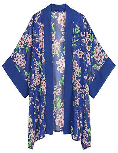 WEIYAN Women's Summer Tops Loose Chiffon Kimono Cardigan Beach Swim Cover up Blouse (BWFlower, Small) ()