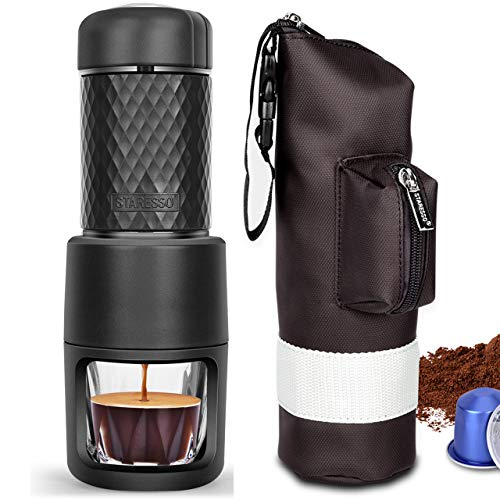 STARESSO Portable Coffee Maker, Upgrade Version Manual Espresso Machine, 20 Bar Pressure for Capsule and Ground Coffee, Reddot Award Winner FDA Approved, Perfect for Travel Camping Kitchen Office