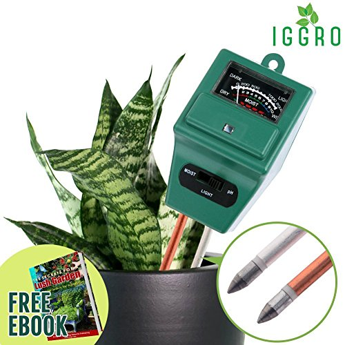3 in 1 Soil Tester Moisture Meter - pH Alkalinity Acidity, Sunlight Level with Dual 8 inch Probe Aluminum and Copper for Indoor Outdoor Winter Gardening Summer New Planting - Ebook Included