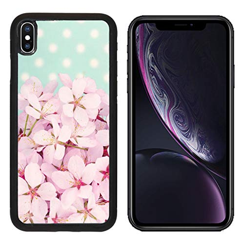 Polka Dot Cherries Snap - Liili Premium Apple iPhone XR Aluminum Backplate Bumper Snap Case Pink Cherry Blossom Flower Bouquet on Light Blue Vintage Polkadot Background Photo 19979131