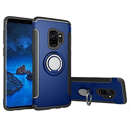 LittleForest for Samsung Galaxy S9 phone case 360° Rotation finger ring with magnet Holder kick Stand Car Stand 3 in 1 Phone Case [ Anti-Scratch ] [ Shock Absorption ] (Finger Magnet)