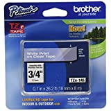 Brother Tape, Laminated White on Clear, 18mm (TZe145) - Retail Packaging