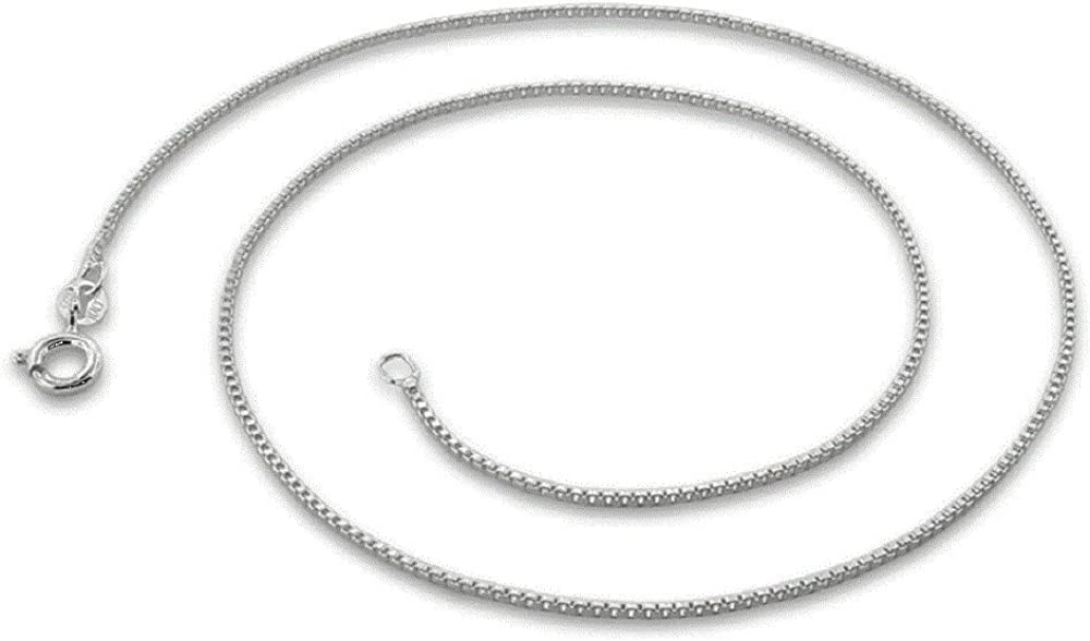 Sterling Silver Girls .8mm Box Chain Baby Bib Pendant Necklace