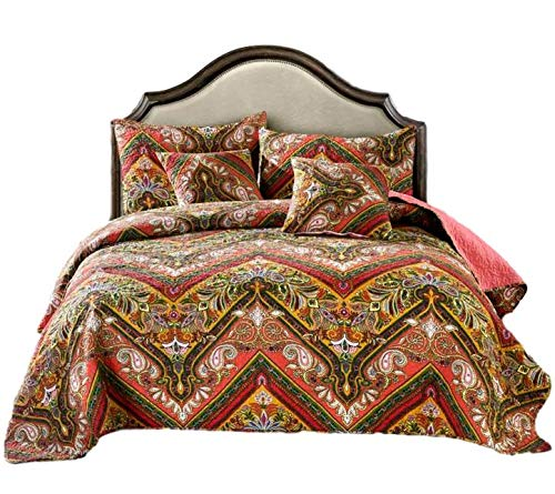 Kings Hanging - Tache 3 Piece Red Hanging Gardens Chevron Quilted Bohemian Bedspread Coverlet Quilt Set, King