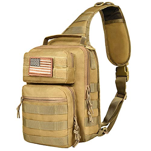 NOOLA Sling Bag Pack Tactical Military Chest Backpack Small Padding Pack for iPad with Flag Patch Khaki