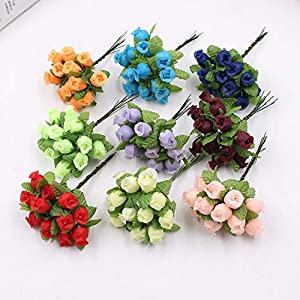 HANBINGPO 12pcs 2cm Handmade Mini Silk Rose Bouquet Artificial Flower Wedding Decoration DIY Wreath Clip Art Fake Flower Decoration 120