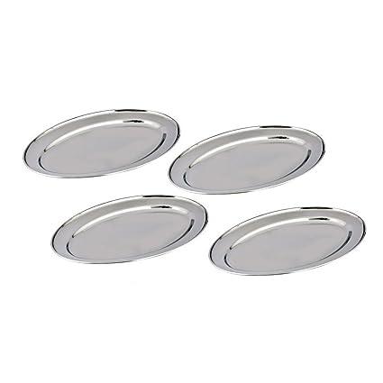 Kosma Set de 4 bandejas Oval Acero Inoxidable - Diseñador bandejas de servir, tamaño 35cm placa | Arroz | Plato | Juego de 4 Grandes sirviendo platos ...