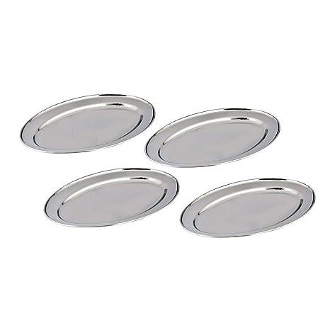 Kosma Set de 4 bandejas Oval Acero Inoxidable - Diseñador bandejas de servir, tamaño 35cm placa | Arroz | Plato | Juego de 4 Grandes sirviendo platos para ...