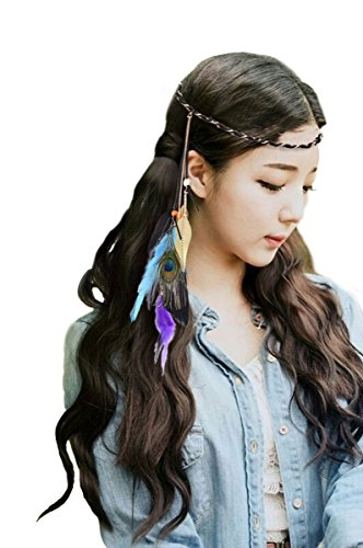 Fascinator Feather Headband Bohemian Tassels Headwear for Women (Female Peacock Costume)