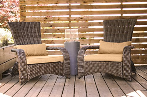 Patioflare PF-CH302S-BR2PK Premium Wicker Adirondack Chair 2 Pack Brown And Sunbrella Linen Sesame