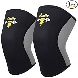 iDofit Knee Compression Sleeves Neoprene 5mm for Weightlifting, Powerlifting, Cross Training WOD, Squats & Gym Workout - Knee Support for Joint Pain, Arthritis Relief & Improve Athletic Performance