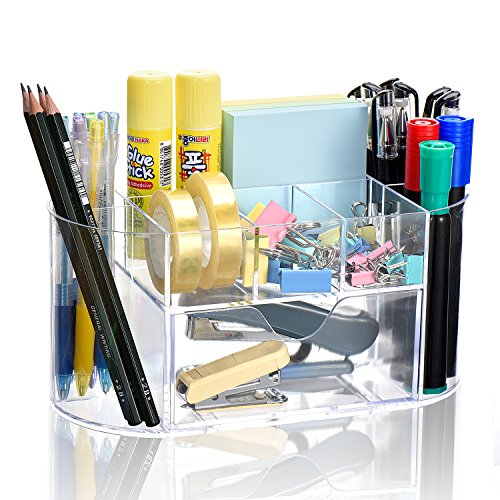 TWING Multi-function Desk Organizer Premium Quality Clear Acrylic Desk File Organizer Racks Holder, Large Storage For Women Student Office Wokers On Desktop Clear Acrylic Desk Accessories