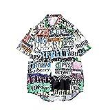 AHAYAKU Mens Summer Fashion Shirts Casual Short Sleeve Beach Tops Loose Casual Blouse Black
