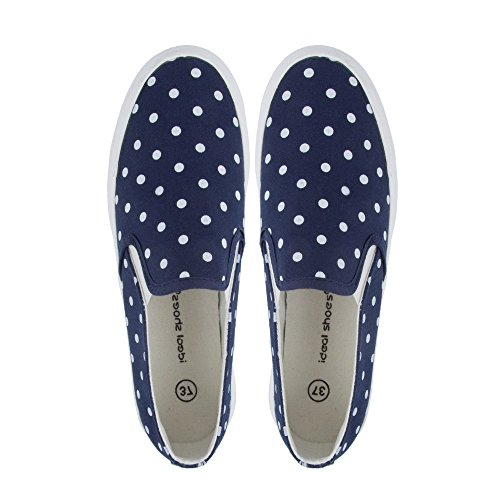 Ideal Shoes-slip-on gepunktet eleanie Blau - Marineblau