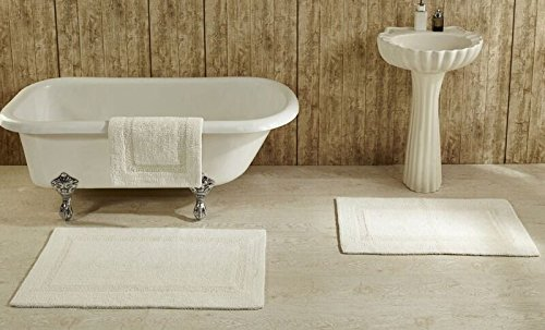 - Better Trends / Pan Overseas Lux 200 GSF 100-Percent Cotton Reversible Bath Rugs, 17 by 24-Inch, Ivory, 2-Pack