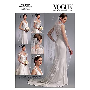 Vogue Bridal Pattern 8569 Headpieces Tiara And Veils With Variations