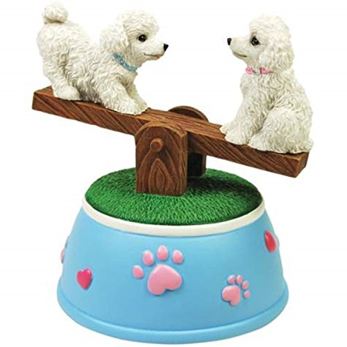 WL SS-WL-20811 Poodle Puppies Musical See-Saw Figurine with Pink Paw Prints (Treasures Musical Figurine)