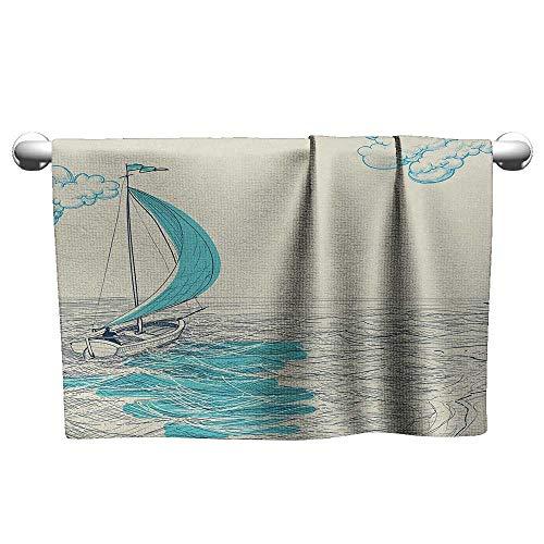 alisoso Nautical,Wholesale Towels Sailing Boat Reflection Cloudy Sky Sandy Seaside Shoreline Hobby Water Sports Quick-Dry Towels Aqua Beige W 14