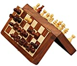 7 x 7 Inch Travel Chess Set for Christmas Sale - Classic Magnetic Pocket Travel Chess Set - Staunton Pieces and Folding Game Board with Chessmen Storage Handmade in Fine Rosewood