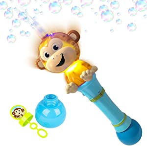 ArtCreativity Light Up Monkey Bubble Blower Wand - 12 Inch Illuminating Bubble Blower with Thrilling LED Effects, Batteries and Bubble Fluid Included, Great Gift Idea, Party Favors - Assorted Colors