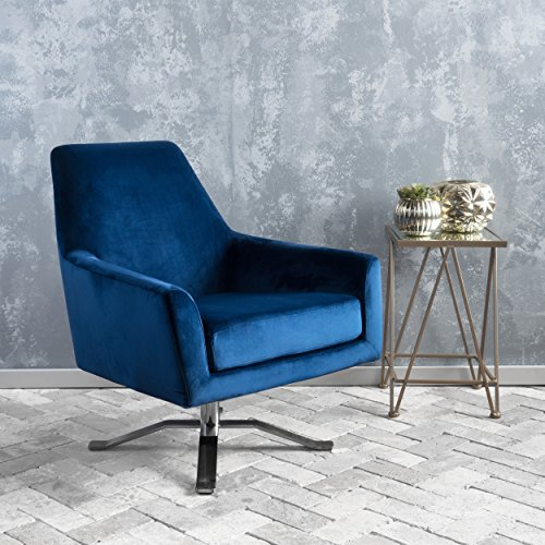 Aegis Navy Blue New Velvet Swivel Club Chair