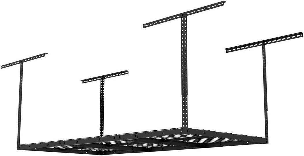 "Fleximounts 3x6 Overhead Garage Storage Adjustable Ceiling Storage Rack, 72"" Length x 36"" Width x 40"" Height, Black"