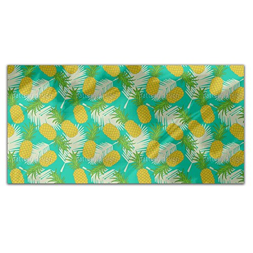 Pineapple Tropicana Rectangle Tablecloth: Medium Dining Room Kitchen Woven Polyester Custom Print by uneekee