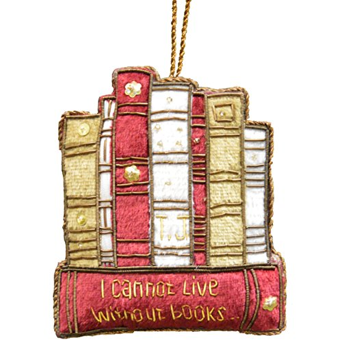 Live Ornament (Monticello I Cannot Live Without Books Embroidered Ornament)