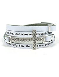 4031179 John 3:16 Leather Wrap Cross Bracelet Adjustable Belt Buckle For God So Loved The World