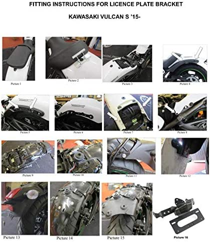 with LED Tail light Compatible with OEM//Stock and Aftermarket Turn Signal Tail Tidy for 2015 2016 2017 2018 2019 2020 Kawasaki Vulcan s//Vulcan Caf/é 18-20 Smoke Xitomer Vulcan s Fender Eliminator