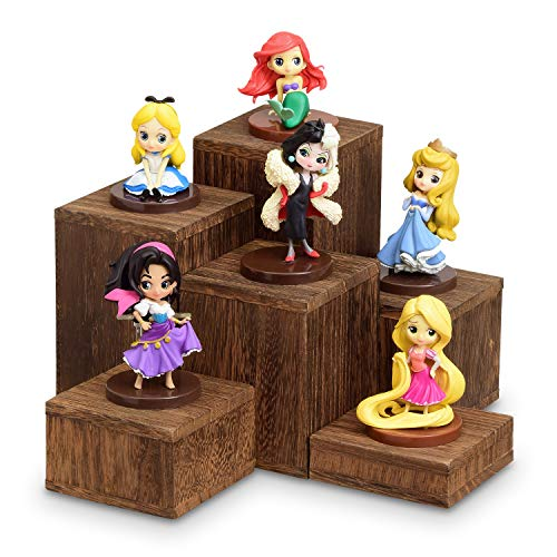 Mooca Wooden 6 Pcs Square Risers for Display Jewelry and Accessories Display Stand, Brown (Wooden Stand Display)