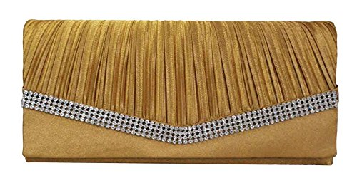 Chicastic Beige Gold Pleated Satin Wedding Evening Bridal Clutch Purse With Rhinestones by Chicastic