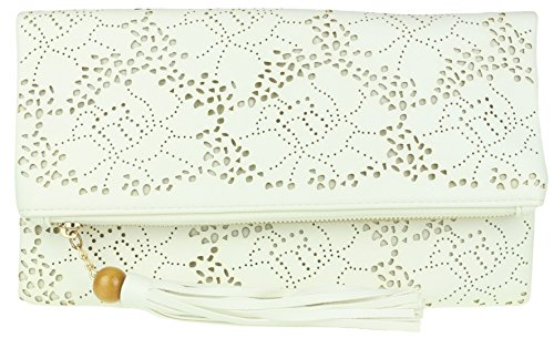 Girly HandBags Laser Cut Folded Clutch Bag White