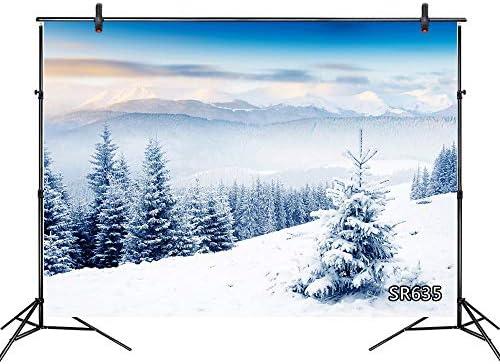 Lb 210x150cm Vinyl Schnee Wald Hintergrund Rosa Baum Berg Fotografie Hintergrund Für Fotostudio Winter Thema Party Dekoration Angepasst Küche Haushalt
