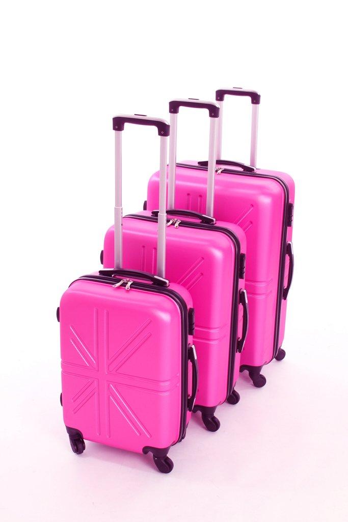 Dublin set da 3 pezzi valige trolly in ABS e policarbonato con 4 ruote girevoli 360° gradi colori vari (fuxia) bb001