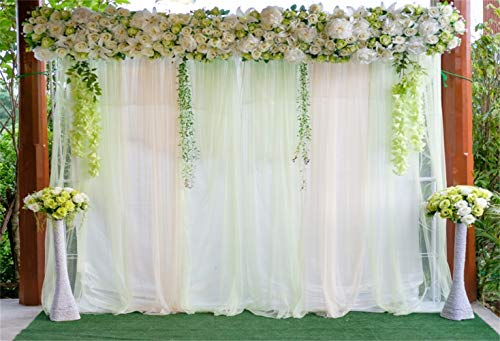 (Laeacco Chic Floral Wedding Stage Backdrop 10x8ft Vinyl Romantic Wedding Ceremony Photo Booth Curtain Flower Stands Green Carpet Background Bridal Shower Bride Groom Shoot Party Decoration)