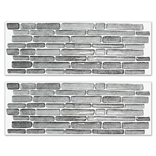 BEAUSTILE Decorative Tile Stickers Peel and Stick Backsplash Fire Retardant Tile Sheet 2 Rough Stone