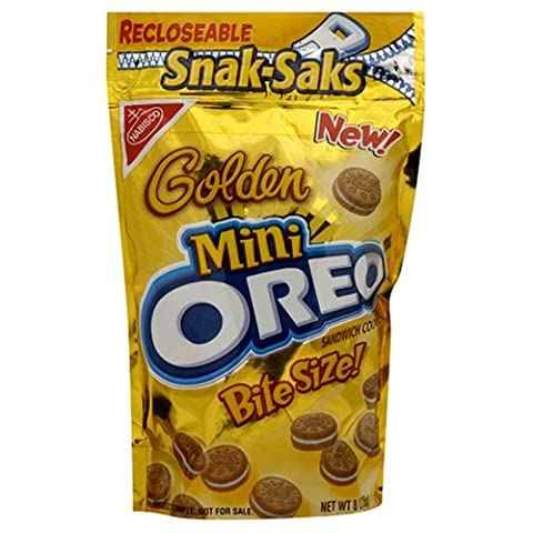 Oreo Mini Golden Bite Size Sandwich Cookies, 8-Ounce Snak-Saks (Pack of 12) (Bite Size Oreos)