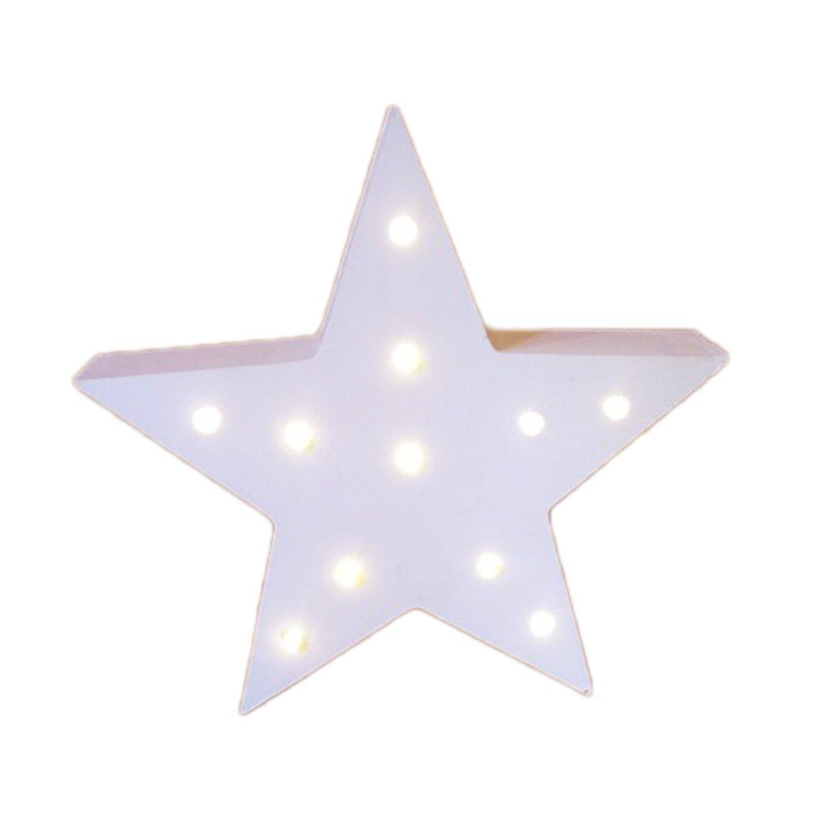 dinowin Decorative Light Up木製アルファベット文字、電池式LED文字ライトサインパーティーウェディング装飾アルファベット-ホワイト ホワイト B072BPHYNC スター