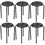New Set of 6 Stackable Daisy Metal Stools Set Back-less Round Top Kitchen/ Black #1012