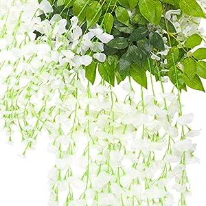 CEWOR 12pcs Artificial Wisteria Hanging Vine Fake Flower Silk Wisteria VineFake Silk Flowers in Natural Chain Garland for Wedding Ceremony Arch Party Home Garden Decor (White) 3