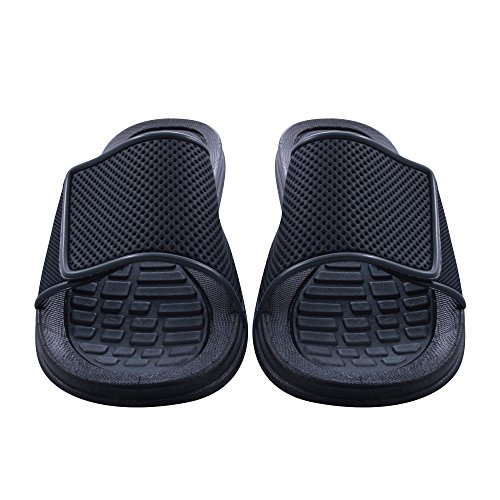 Sky Sole Mens Slide Sandals with Velcro Strap in Gray Trim, Size 9 by Skysole