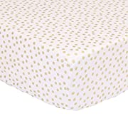 Metallic Gold Confetti Dot Print Fitted Crib Sheet - 100% Cotton Baby Girl Geometric Polka Dot Design Nursery and Toddler Bedding