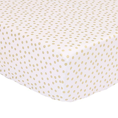 Metallic Gold Confetti Dot Print Fitted Crib Sheet - 100% Cotton Baby Girl Geometric Polka Dot Design Nursery and Toddler Bedding (White Crib Sheet With Gold Polka Dots)